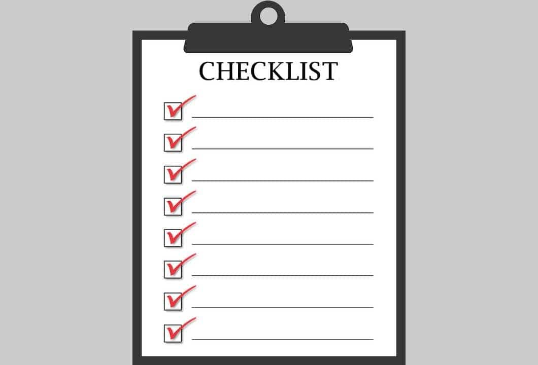 Cecklist with a collection of questions or criteria to be ticked off