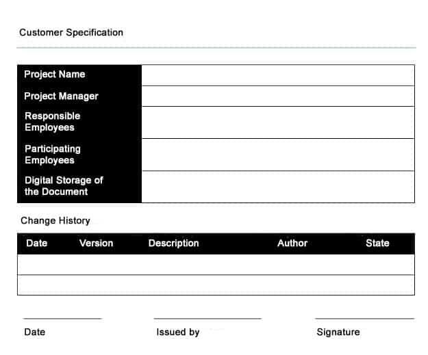 Customer Specification - an example
