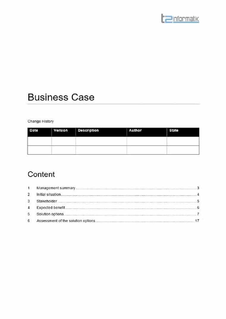 Business case template to take away