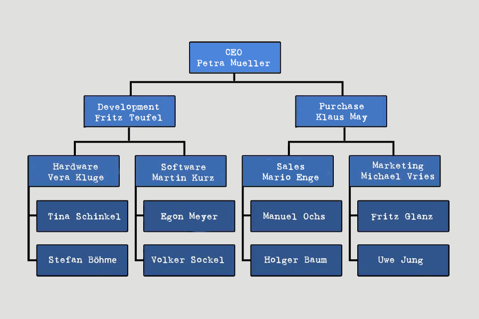 Organisation Chart - example with a hierarchical organisation