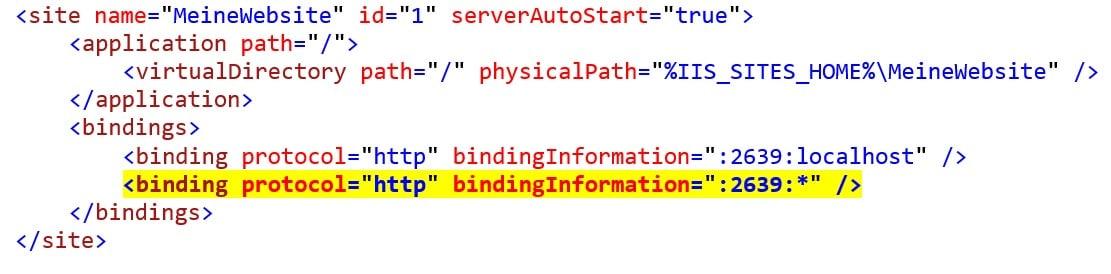 Code Beispiel mit ersetztem User