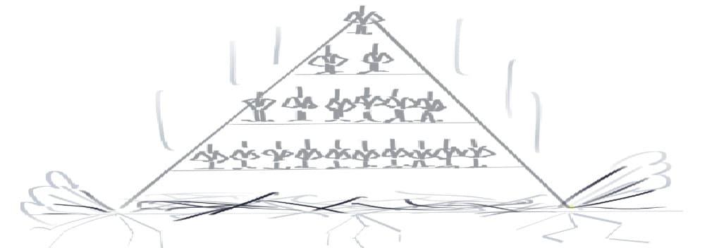 Die Pyramide bricht zusammen.