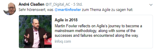 Sehr hörenswert, was Martin Fowler zum Thema Agile zu sagen hat - findet @IT_Digital_AC