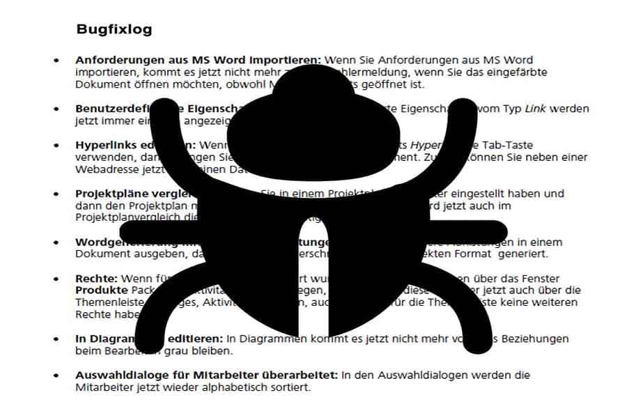 Bugfixlog - eine Sammlung von Bugs