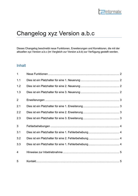 Changelog-Vorlage zum Herunterladen