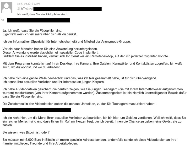 Ransomware - ein Beispiel für ein Erpessungsversuch per Mail