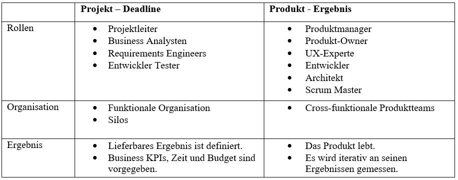 Vergleich Projekt - Produkt²