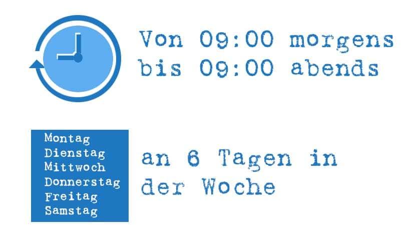 996 System - von 9:00 morgens bis 09:00 abends an 6 Tagen pro Woche arbeiten