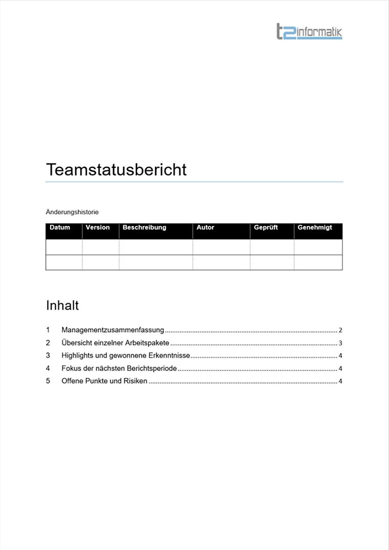 Teamstatusbericht Vorlage zum Herunterladen