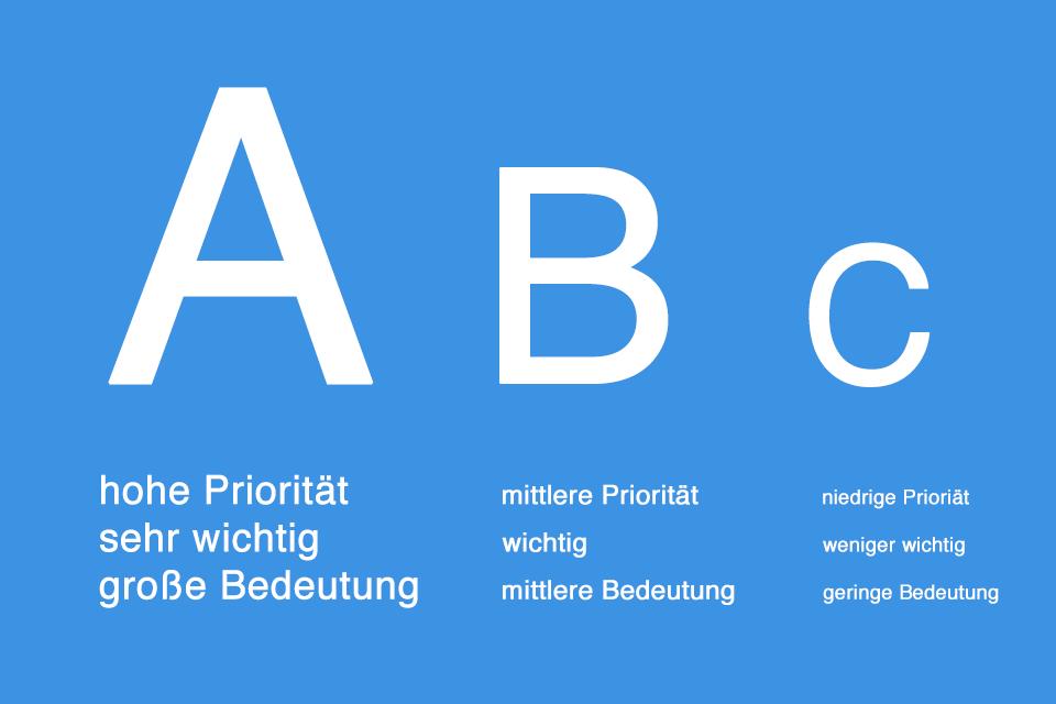 ABC-Analyse - die Gewichtung von Elementen nach ihrer Priorität, Wichtigkeit oder Bedeutung.