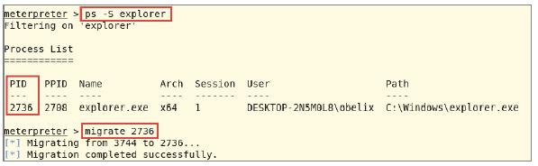 Wir binden den Trojaner an den Prozess explorer.exe