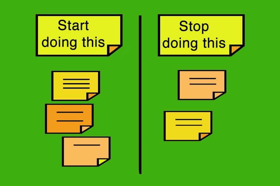 Start-Stop-Retrospektive als Rückschau, bei der ein Team festhält, was fortan getan bzw. unterlassen werden soll.