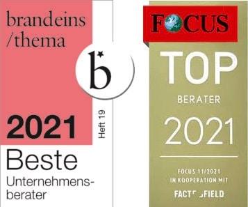 Beste Unternehmen und Top Berater 2021 - Auszeichnungen für change factory
